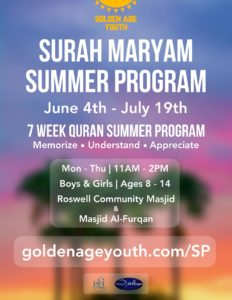 Surah Maryam Summer Program for youth ages 8-14